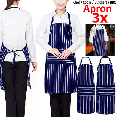 3X Plain Apron With Front Pocket For Chefs Butchers Kitchen Cooking Craft Baking