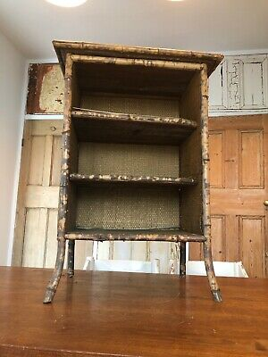 Antique Victorian Bamboo Side Cabinet Shelving Unit