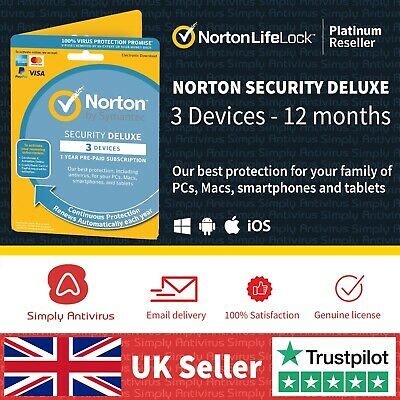 Norton Security Deluxe 2019 3 Multi Devices 1 Year - *5 Minute Delivery by Email