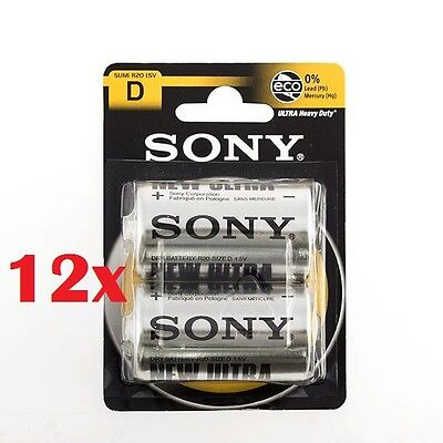 cc Confezione 24 Pile Batterie Sony New Ultra D Sum1 R20 1.5V Torce hsb