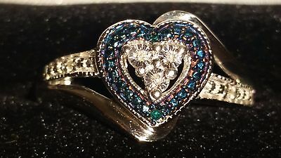 859004cbb Kay Jewelers Sterling Silver Blue & White Diamond Heart Shaped Ring (Size  ...