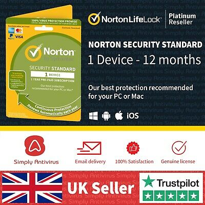 Norton Security Standard 2019 - 1 Device - 1 Year -  *5 MInute Delivery by Email