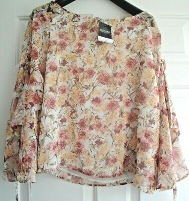 Topshop Blouse Top Shirt Bnwt Size 12 Ivory Mix Rrp £32 Ladies Girls Floral