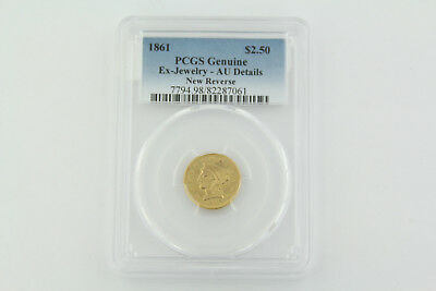 1861 United States $2.5 Liberty Head Gold Coin - PCGS Genuine AU Details