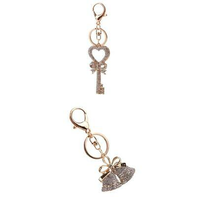 MagiDeal Bag Pendant Accessories Heart & Bell Keychain Crystal Car Key Rings