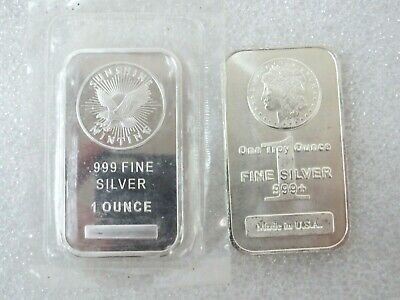.999 Fine Silver One Troy Ounce Bar  Morgan Design  Made In USA SUNSHINE MINT