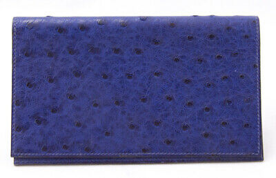 HERMES Blue ostrich agenda 7 inches long
