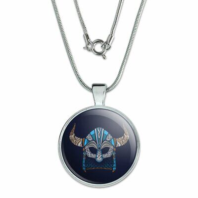 """Nordic Viking Warrior Helmet with Horns 1"""" Pendant w/ Silver Plated Chain"""