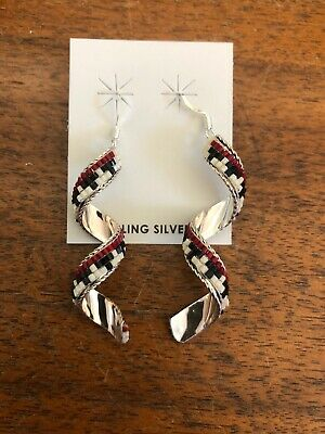 Native American Navajo Lucile R Sterling Swirl Beaded Earrings Wow Stunning #A