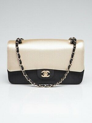 35f8974b980b NWT CHANEL SO BLACK MEDIUM CLASSIC DOUBLE FLAP 17S White Crumpled ...
