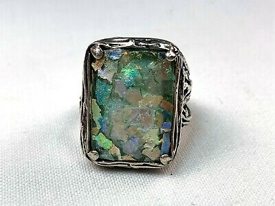 Vintage Ancient Roman Green Glass Cocktail Ring in Sterling Silver, Sz 8