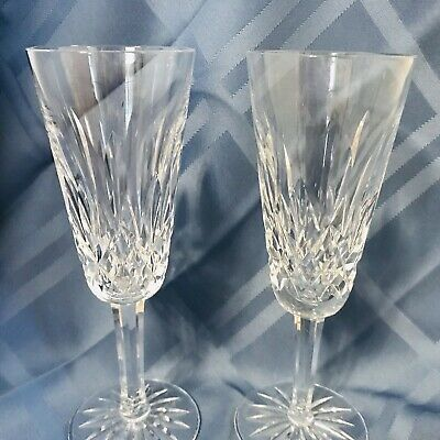 WATERFORD Ireland Lismore Pattern (1957-) Set of 2   7.25 Inch Champagne Flutes