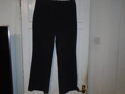 Dark blue and beige pinstripe full length office trousers, ZONA, size 14