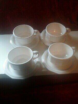 Pfaltzgraff Heritage Pattern White Set Of 4 Cups And Saucers