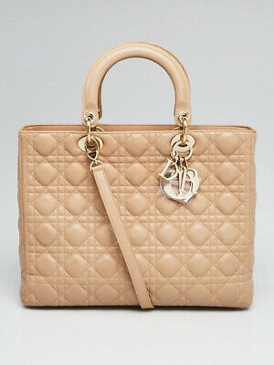02cebb39759 Christian Dior Beige Quilted Cannage Lambskin Leather Large Lady Dior Bag
