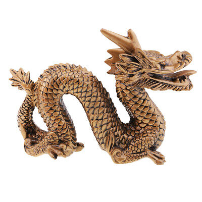 MagiDeal Chinese Dragon Statue Wealth Feng Shui Figurine Table Decor Bronze
