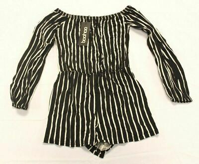Boohoo Women's Petite Emma Stripe Off The Shoulder Playsuit Black AB3 Size US: 4