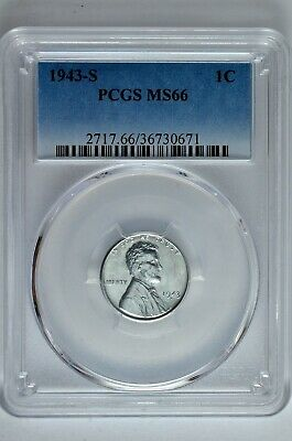 1943 S 1c Lincoln Steel Wheat Cent PCGS MS 66