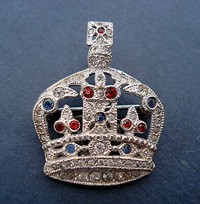 ART DECO BROOCH CROWN WITH PATRIOTIC RED WHITE & BLUE GLASS VINTAGE 1930s