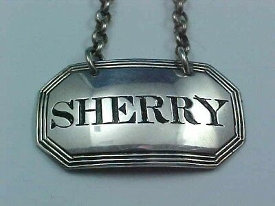 "1845 Sterling Silver Decanter Wine Label ""Sherry"" Rawlings & Summers Of London"
