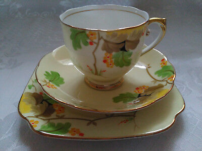 Stunning Vintage Roslyn China Hand Painted Tea Cup Saucer andTea Plate Trio 8223
