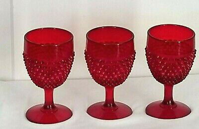 3 Vtg 1960's  Ruby Red Hobnail WATER GOBLETS Glassware 8 oz Gorgeous!