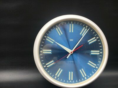Retro Smiths Astral Wall Clock 1970 Blue Face Vgc