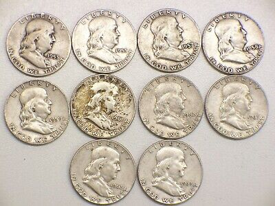 Lot Of 10-Franklin Silver Half Dollars 1953 To 1963 $5.00 Face Value 90% Silver