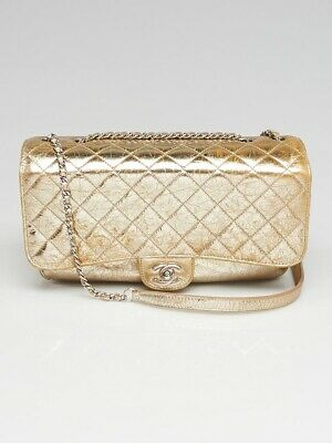 28df4adf3bfc Chanel Gold Quilted Distressed Glazed Leather Medium Accordion Flap Bag
