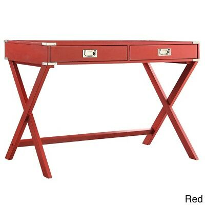 Wood Writing Desk Campaign Accent Modern Red Computer Laptop Student Office Home