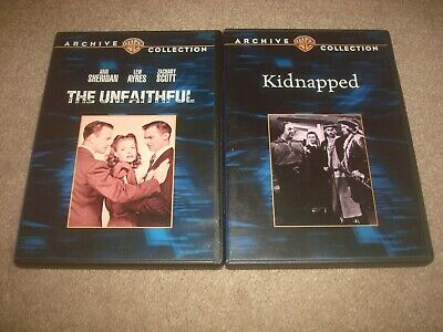 Kidnapped + The Unfaithful DVD LOT Warner Archive Collection Classic Film Movie