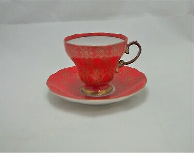 Antique Hand Painted Mandarin Red and Gold Tea Cup with 7/33 on the bottom