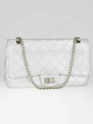 83ec58e69b7206 Chanel Silver 2.55 Reissue Quilted Classic Lambskin Leather 227 Jumbo Flap  Bag