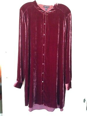 97d1f4fbcfd Eileen Fisher rusty red Monterey velvet shirt tunic top XL long button  front L