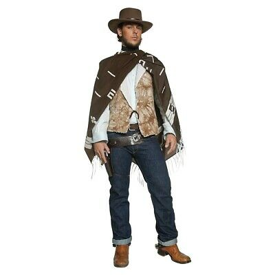 Cowboy Costume Adult Clint Eastwood Poncho Wild West Gunslinger Fancy Dress