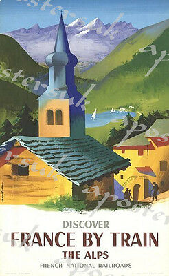 Vintage French Railways French Alps Tourism Poster A3/A4 Print