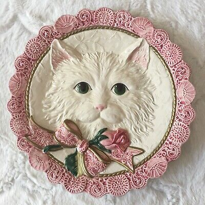 Fitz And Floyd Kittens + Roses Canape Plate White Cat Pink And Gold Ribbon Rose