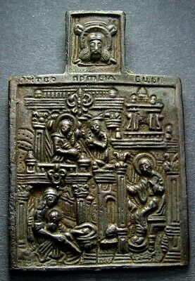 Ancient Bronze Orthodox Icon. Religious Artifact In Great Condition. Rare.