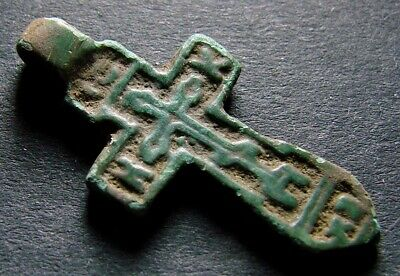 ANCIENT BRONZE CROSS RARE. RELIGIOUS ARTIFACT 14 CENTURY. 26 mm. (R.004)