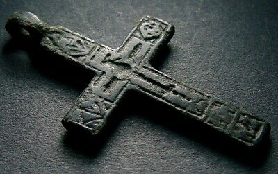 ANCIENT BRONZE CROSS RARE. RELIGIOUS ARTIFACT 15 - 16 CENTURY. 45 mm. (F.108)