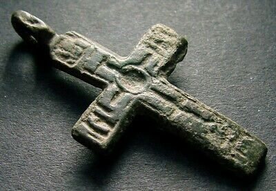 ANCIENT BRONZE CROSS RARE. RELIGIOUS ARTIFACT 16 CENTURY. 39 mm. (R.001)