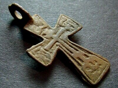 ANCIENT BRONZE CROSS RARE. RELIGIOUS ARTIFACT 16 - 17 CENTURY. 29 mm. (R.006)