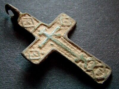 ANCIENT BRONZE CROSS RARE. RELIGIOUS ARTIFACT 17-18 CENTURY. 37 mm. (R.009)