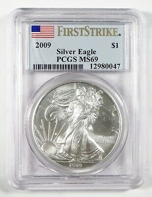 2009 AMERICAN EAGLE Silver Bullion Coin • PCGS MS69 FIRST STRIKE