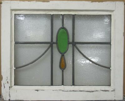 "OLD ENGLISH LEADED STAINED GLASS WINDOW Pretty Simple Sweep Design 20.5"" x 16.5"""