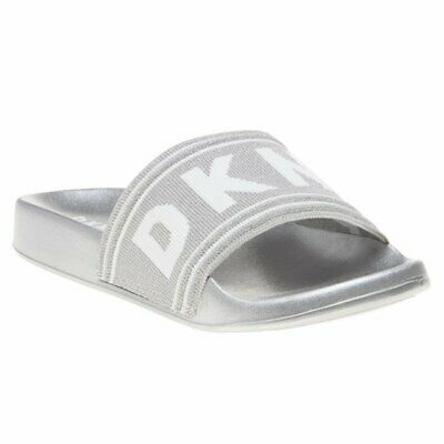 34be243a364 NEW WOMENS DKNY Metallic White Silver Arnold Slip On Wedge Textile ...