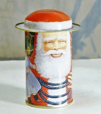 Advertising Tin/B.Shackman/Santa/Hat Lid/Metal Box/Round Storage Bin/Collectible