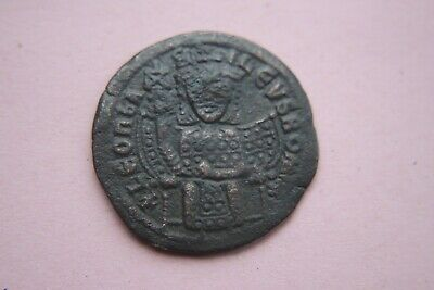 ANCIENT BYZANTINE BRONZE LEO FOLLIS COIN 9th CENTURY AD