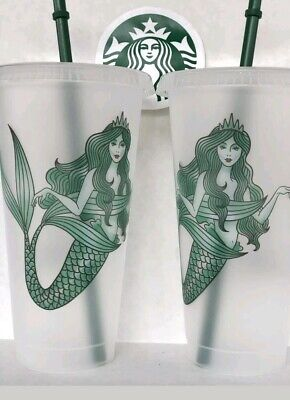 2 Starbucks Mermaid Siren Frosted Reusable Cold Cup without Original Logo 2019