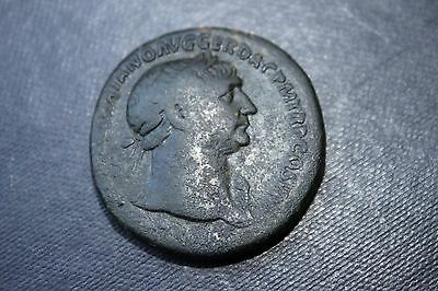 ANCIENT ROMAN TRAJAN SESTERTIUS COIN 2nd CENTURY AD DACIA SEATED